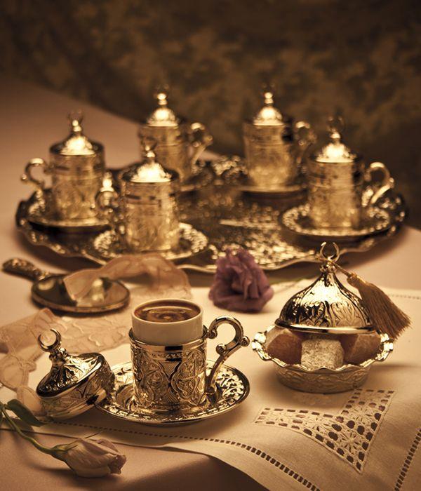 Hediyelik Gümüş Renk Hilalli Karizma 6'li Kahve Takımı