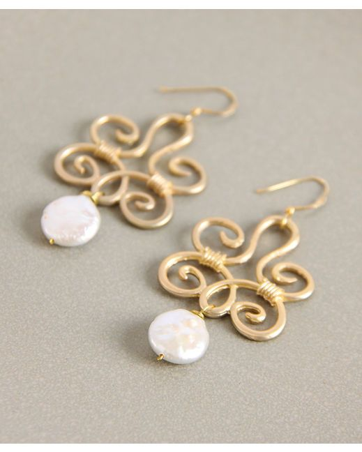 Geranium Pearl Elegance Swirl & Coin Pearl Earrings | Country Outfitter