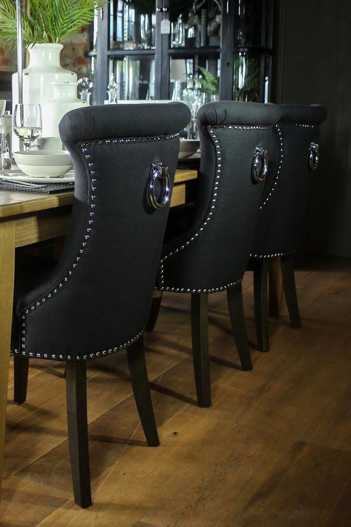 Black Studded Dining Chair With Ring Diningroomideas Dining