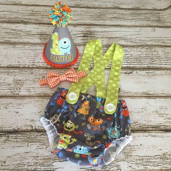 Monster First Birthday Boy Outfit  Diaper Cover by Polkadotologie