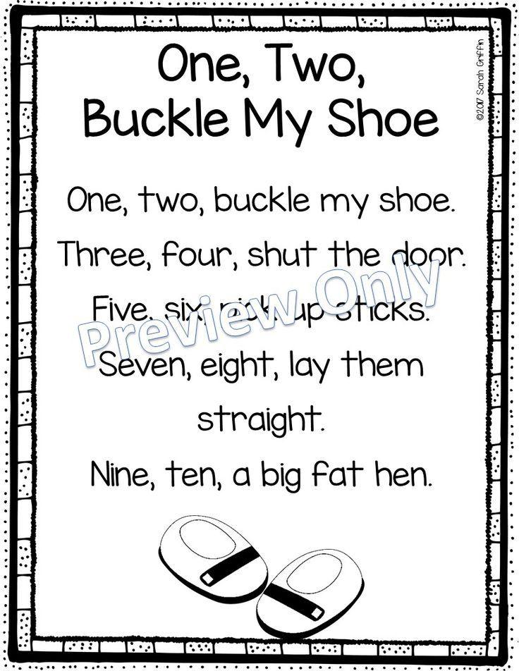 One, Two, Buckle My Shoe - Printable Nursery Rhyme Poem ...