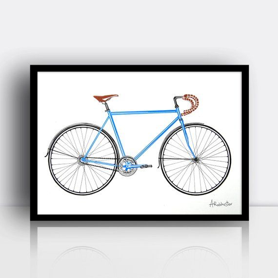 Road Bike Screen Print 3 Colour A3 Sized Limited Edition With