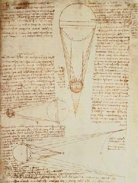 Leonardo da Vinci - Codex Leicester f.1r: notes on the earth and moon, their sizes and relationships to the sun