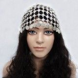 Belly Dance Silver Tone With Coin Tribal Cap Headdress Women Fashion Jewelry