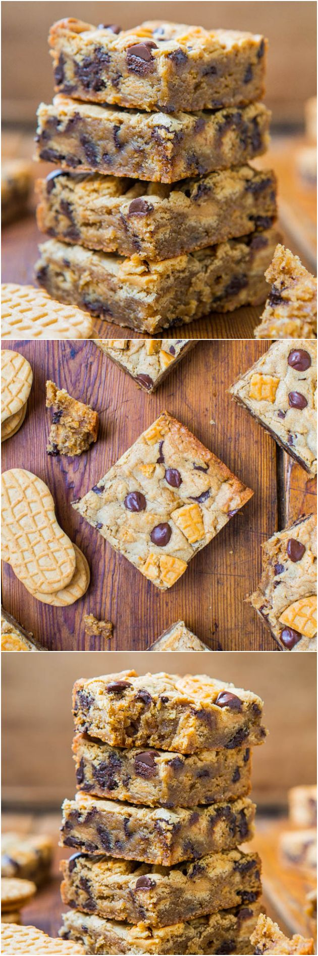 Peanut Butter Chocolate Chip Nutter Butter Bars - Soft bars loaded with chocolate and Nutter Butters! You'll be in PB HEAVEN!