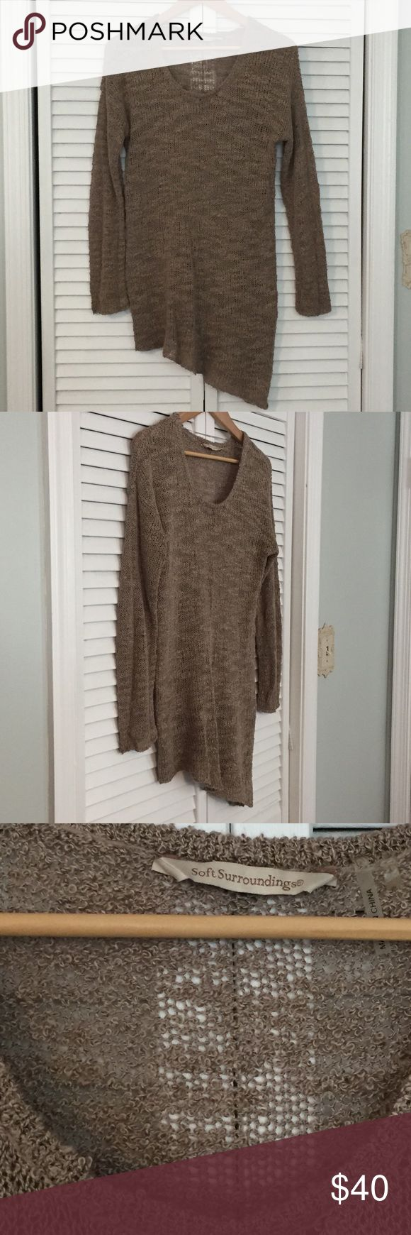 Soft Surroundings asymmetrical top Beautiful open knit-long sleeved top from Soft Surroundings. 100% acrylic. Size Small. Asymmetrical bottom hem. I would suggest wearing a cami underneath due to the open knit style. I actually wore as a swim cover-so many options here! The neutral beige color makes this even more versatile! Soft Surroundings Tops Tees - Long Sleeve