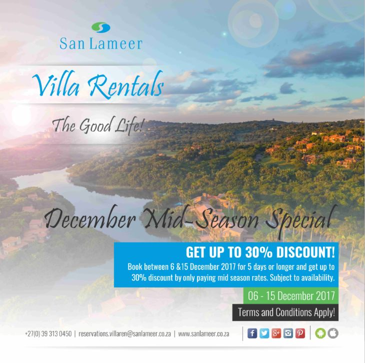 Get your December Holiday plans underway before it is too late. Email San Lameer Villa Rentals on reservations.villaren@sanlameer.co.za to secure your booking.