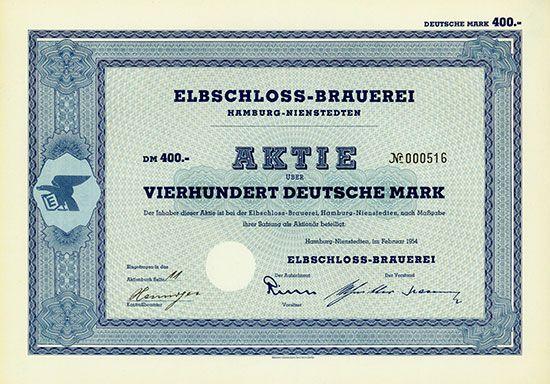 Elbschloss-Brauerei Hamburg-Nienstedten, Februar 1954, Aktie über 400 DM