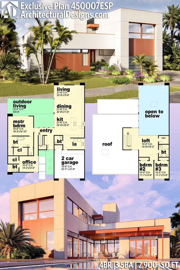 Plan 450007ESP Exclusive 4 Bed Modern House