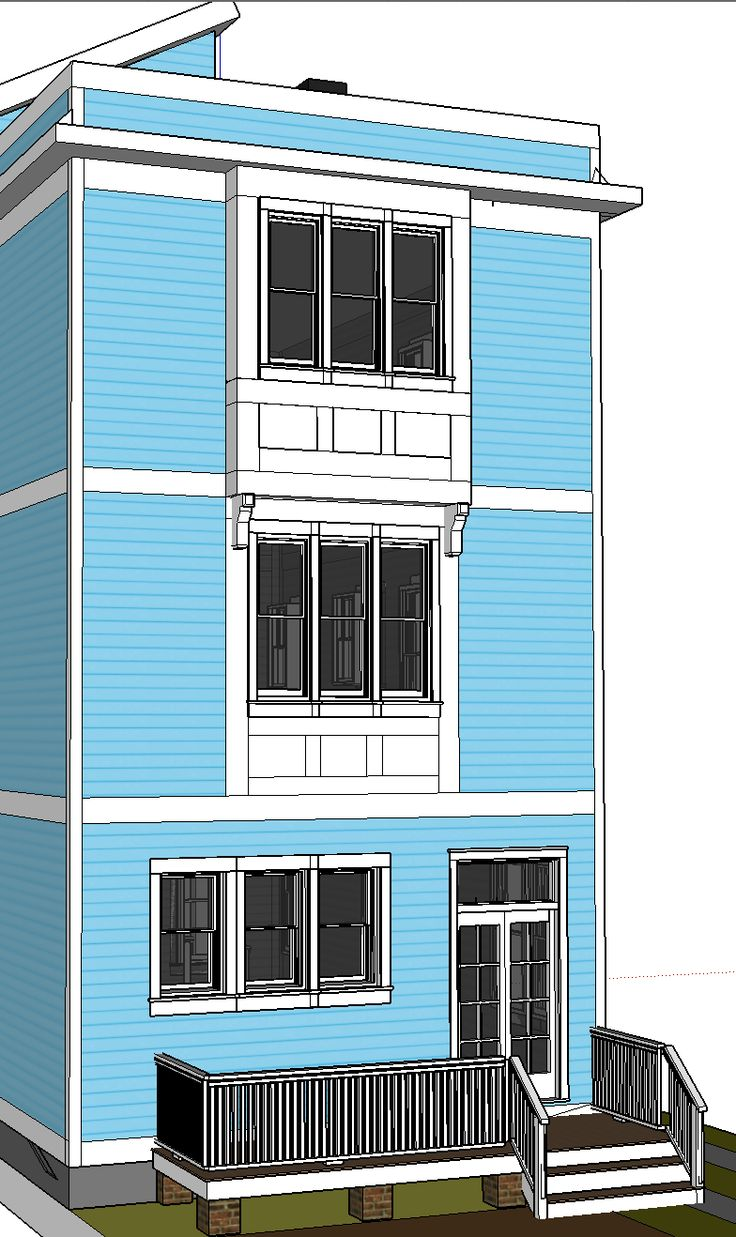 Rear elevation with triple bay window on third story for Window elevation