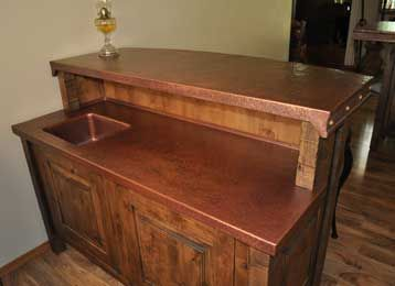 Rustic Copper Bar Top With Needle Hammered Edging. Hand Hammered In A  Rustic Spice Antique Copper.