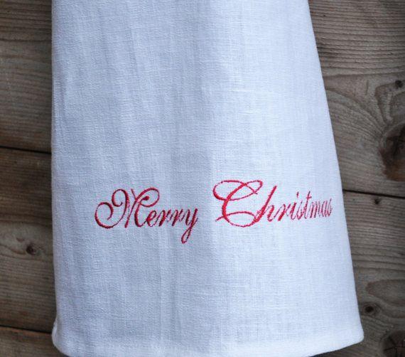 Handmade Merry Christmas linen towel linen tea towel linen