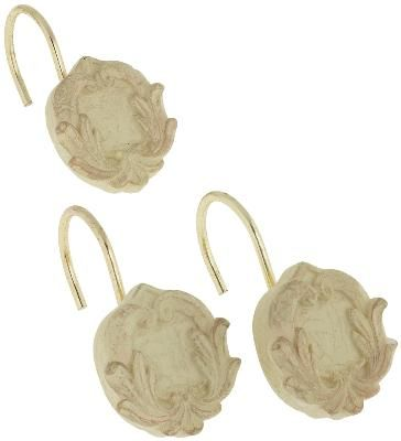 Victorian Shower Curtain Hooks Brushed Gold--i could brush my white flower hooks