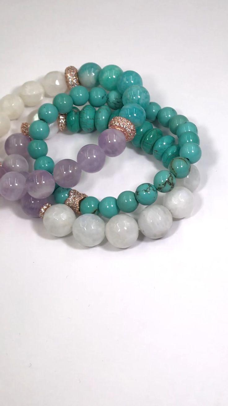 Turquoise, Moonstone, Lavender Quartz, Rose Gold Pave CZ Bracelet Stack Set of 3
