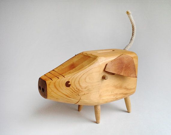 Swedish Wooden Piggy Bank  Signed MidCentury by hellomyfriend, $63.00