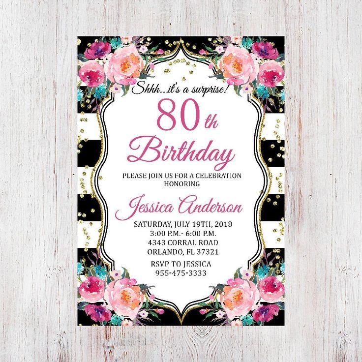 Surprise 80th Birthday Invitation,Black & White Stripes