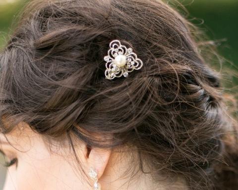 Wedding Hair Clips - Vintage Style Hair Clip, Ivory Pearl Hair Slide, Eve