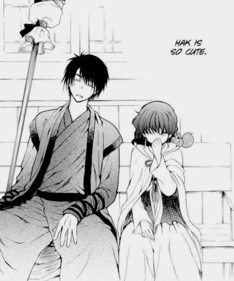 "Akatsuki no Yona / Yona of the dawn anime and manga || Hak and Yona. You finally realized that Yona? I think he's a little more than just ""cute."" XD"