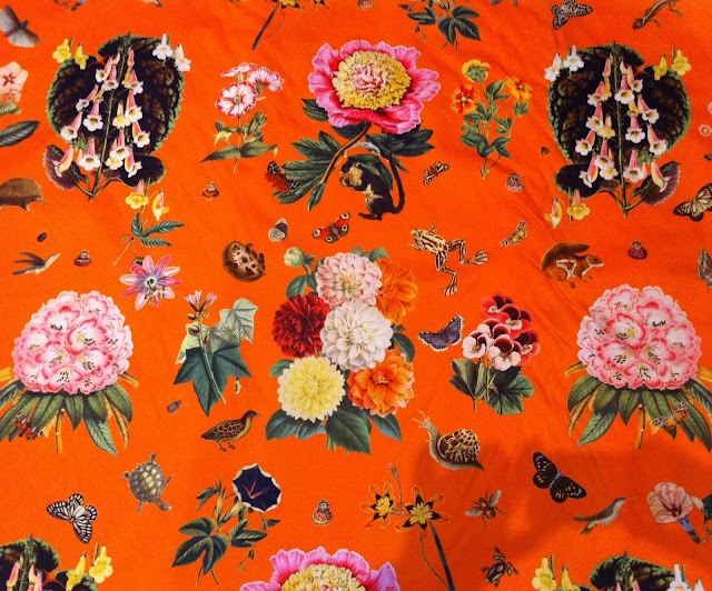 Vibrant botanical print with little creatures from absolutely beautiful things