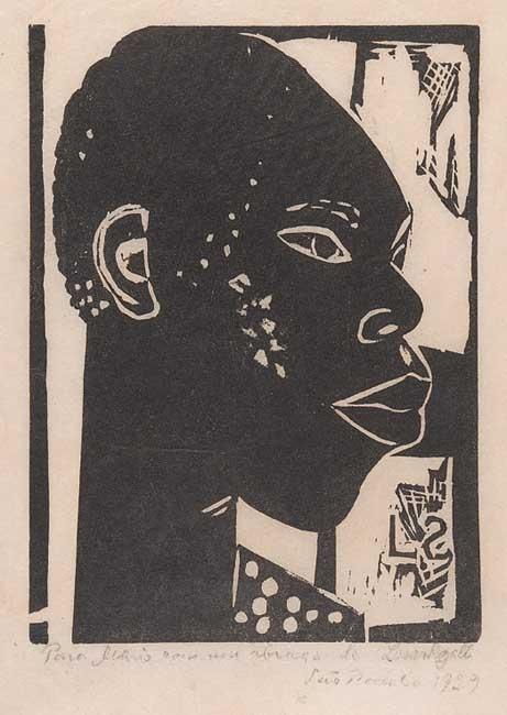 """Lasar Segall, Xilogravura, """"Cabeça de negro"""". 1929"""