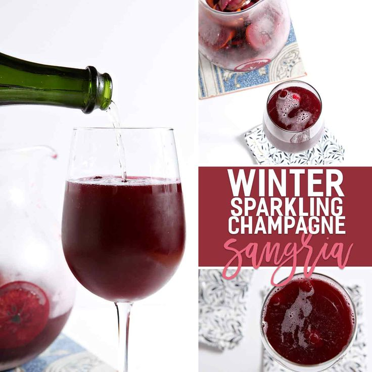 Winter sangria, chock full of orange and cranberry goodness, is combined with a favorite bottle of bubbly to create Winter Sparkling Champagne Sangria!