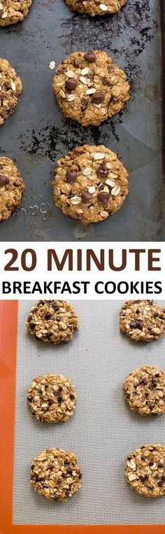 Breakfast Cookies loaded with oats, peanut butter and chocolate chips. Wonderful for breakfast or as a healthy protein packed snack!