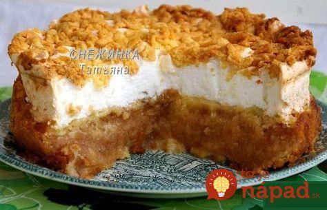 Úžasne chutná poľská torta , s poriadnou porciou jabĺk a nadýchaným snehom. Jej príprava je skutočne jednoduchá a nie je o nič náročnejšia, ako príprava obyčajného koláčika. Ochutnajte, určite vám zachutí!