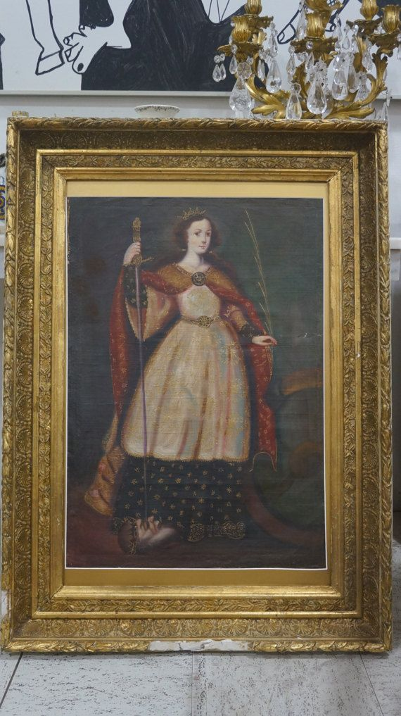 THIS IS AN EXCEPTIONAL 18TH CENTURY SPANISH COLONIAL PAINTING IN BEAUTIFUL ORIGINAL CONDITION! THE PIECE RETAINS ITS ORIGINAL FRENCH 18TH CENTURY FRAME!!  THE DETAIL AND QUALITY IS QUITE BEAUTIFUL. THERE IS INCREDIBLE DETAILING AND GILDING THROUGHOUT!! A RARE FIND. MOST OF THESE TYPE OF PAINTINGS ARE QUITE SMALL FOR NICHES. THIS WORK IS HUGE!!   IF YOU HAVE ANY QUESTIONS OR NEED MORE IMAGES, PLEASE FEEL FREE TO ASK.  PRICED TO SELL $1,200 now $975  SORRY NO RETURNS. I YOU NEED BETTER…