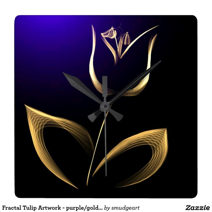 Fractal Tulip Artwork - purple/gold/black Square Wall Clock