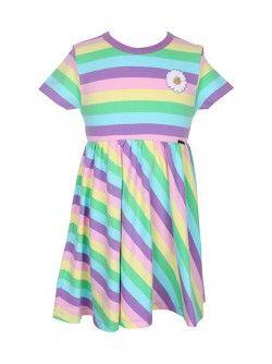 Danefæ kjole i pastelfarver og med en påsyet marguerit. Vejl. pris 329,-
