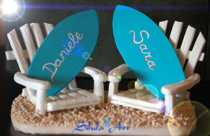 Cake topper  per gli sposi - personalizzato Una tavola da kite surf per gli sposi
