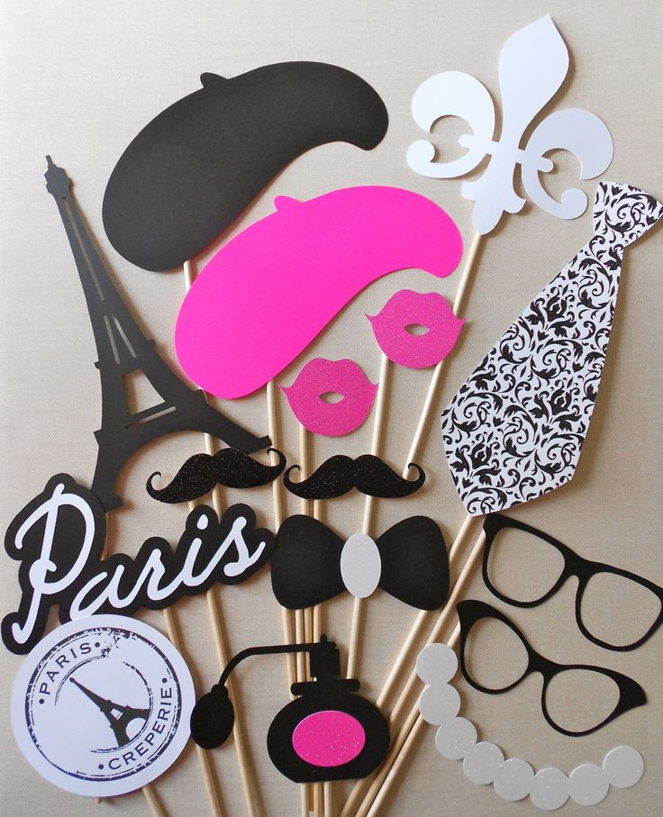 Paris Photo Booth Props. Parisian Photo Booth Props. Glitter. Girls Night Out / Bachelorette / Birthday / Wedding. Set of 16.