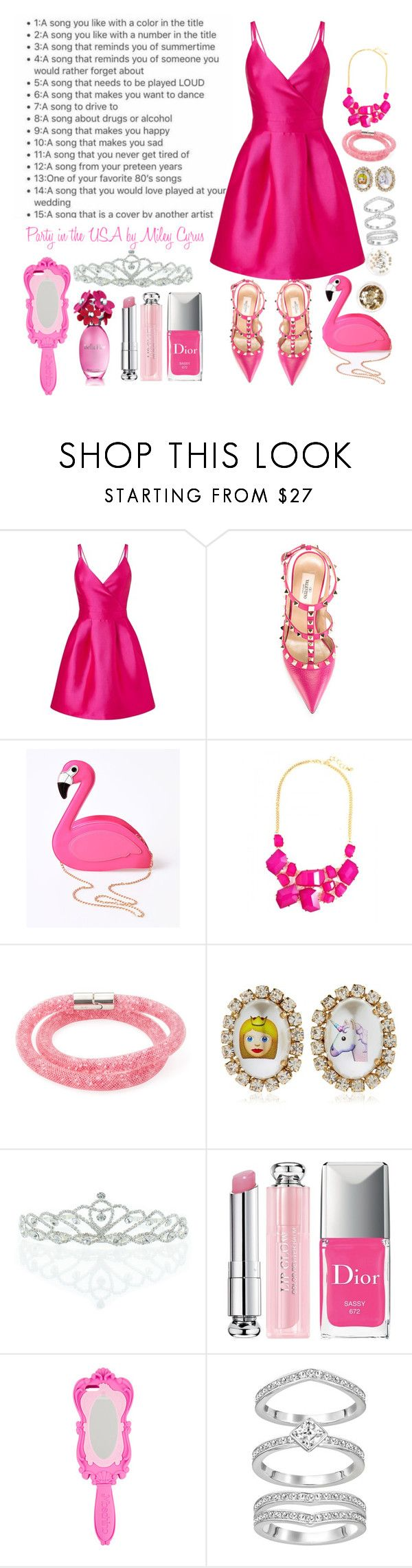 """""""Day 5 Party in the USA"""" by grace-buerklin ❤ liked on Polyvore featuring Miss Selfridge, Valentino, Lulu Hun, Swarovski, Bijoux de Famille, Kate Marie, Christian Dior, Moschino and Topshop"""