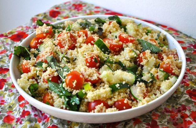 Tomato Cucumber Couscous Salad | 25 Meat-Free Clean Eating Recipes That Are Actually Delicious