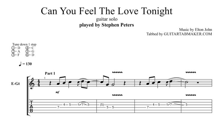 Can You Feel The Love Tonight instrumental guitar TAB - instrumental guitar cover