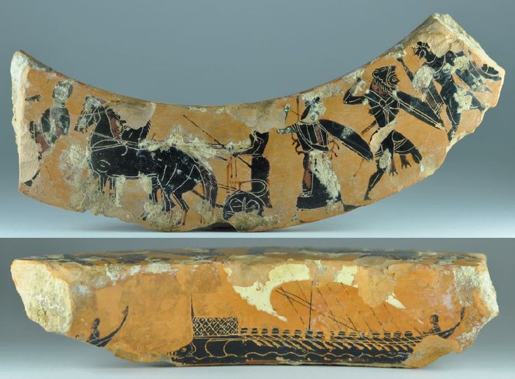 Greek vase, Attic vase, Greek attic black-figured dinos fragment, 520-510 B.C. Greek vase, greek attic black-figured dinos fragment, Antimenes painter, with Greek ships and frieze with quadriga, Athena and Herakles, 19.2 cm long. Private collection