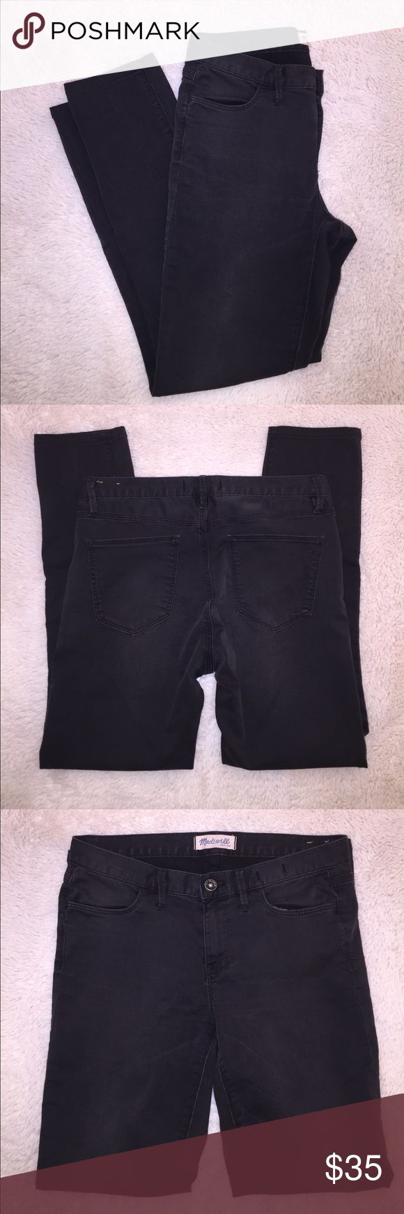 Madewell size 28 dark grey jeans Size 28 Madewell jeans in dark grey wash. Almost black. Only worn once, near perfect condition. Inseam measures 27 inches, perfect for petite ladies! Straight leg fit. Ask all questions prior to purchase •  bundle to save •  willing to consider any reasonable offer  <3 Madewell Jeans Straight Leg