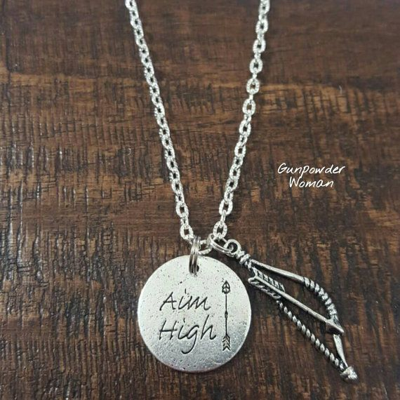 Aim High Traditional Bow Necklace by Gunpowder Woman for the Country Hunting Archery Bowhunting Girl