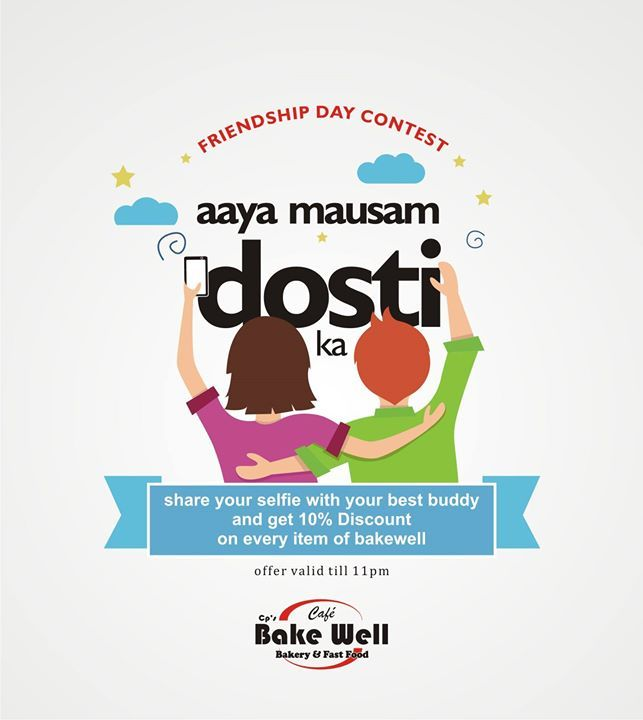 """Friendship Day Contest! """"Aaya Mausam Dosti Ka""""  share your selfie with your best buddy  and get 10% Discount on every item of bakewell.  (offer valid till 11 pm)  #contest #friendshipdaycontest #friendshipday #cakes #friends #happienss #love #sharing #celebrate #bonding #faith #support #pride #chocolates #food #deliciousfood #drinks #coffee #cookies #indroe - http://ift.tt/1HQJd81"""