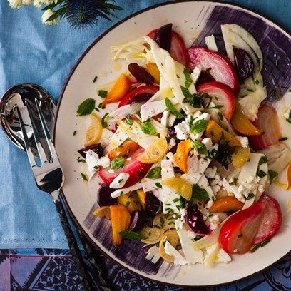 Beetroot, fennel, mint and feta salad