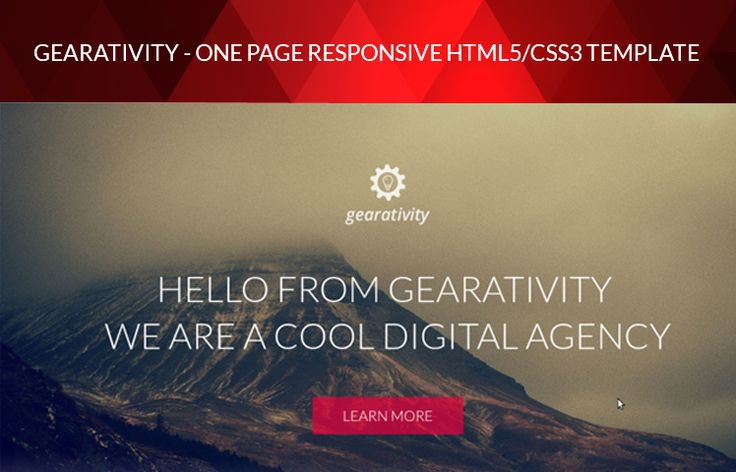 Yep, it's true! We're releasing another great HTML5/CSS3 template, named Gearativity. This is a one-page portfolio styletemplate. You can use it for your company, portfolio...