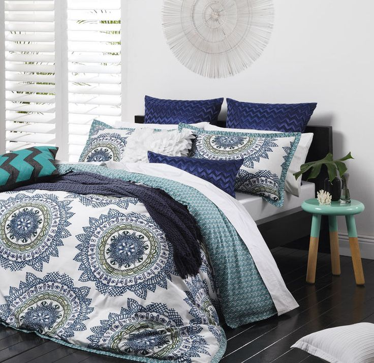 Logan and Mason CABO TEAL Blue Green Queen Size Doona Duvet Quilt Cover Set NEW #LoganandMason