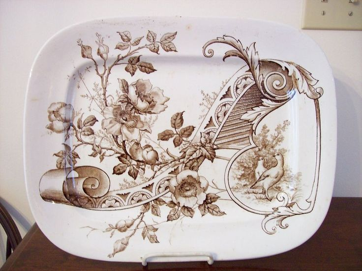 Antique Ashworth Bros MELROSE Brown Transferware Platter Birds Aesthetic 12797 #AestheticMovement #AshworthBros