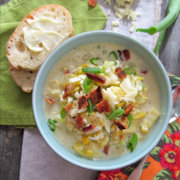 Light Summer Squash and Corn Chowder by wherethecookiesare #Chowder #Corn #Light #wherethecookiesare
