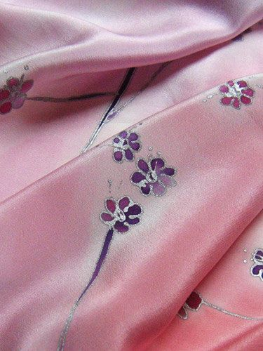 Pink silk scarf with small flowers. Close up on little flowers. Floral. Hand painted by SilkAgathe.