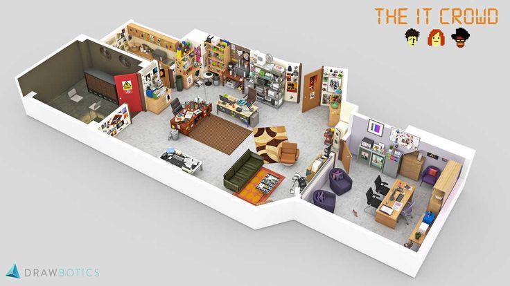 Recréer en 3D les lieux de travail des séries cultes, de Mad Men à The Office en passant par The IT Crowd, Brooklyn Nine Nine, ou Parks and Recreation, une série réalisée par l'équipe de Drawbotics.