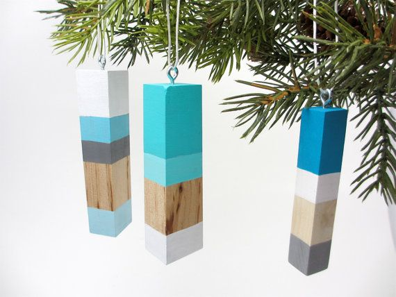 Scandinavian Modern Wood Christmas Ornaments by totemcolorblocks