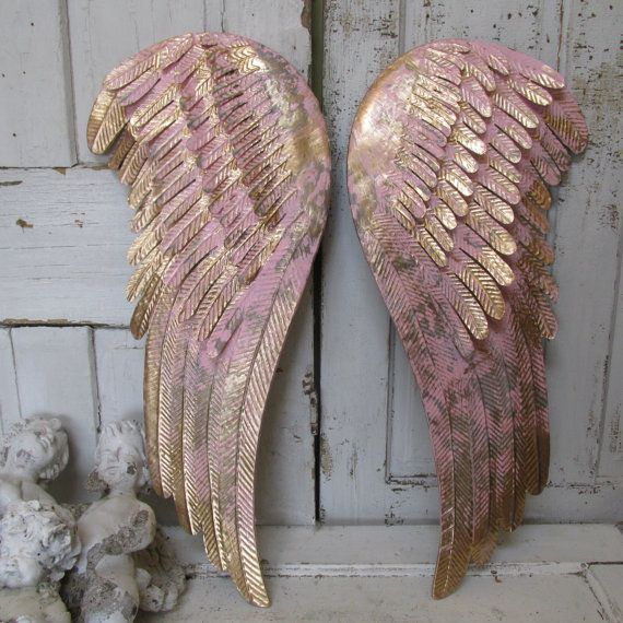 Painted angel wings wall decor pink and gold metal shabby cottage chic distressed home decor anita spero by anitasperodesign. Explore more products on http://anitasperodesign.etsy.com