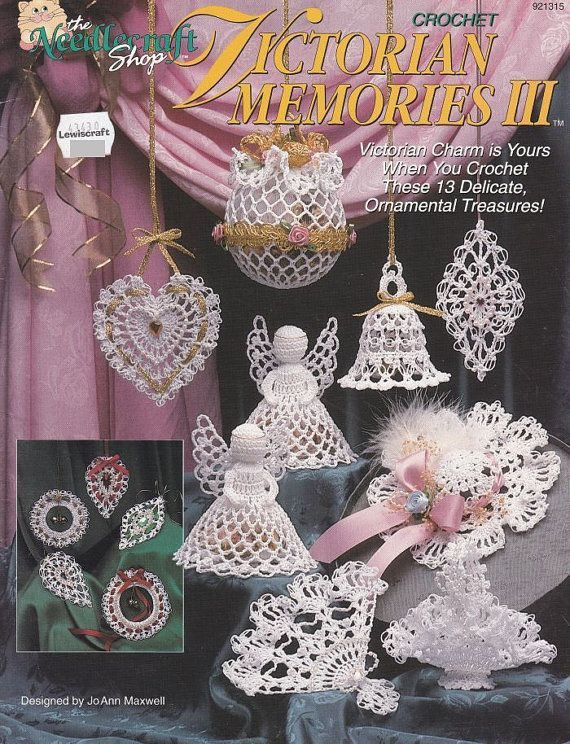Victorian Christmas Ornaments Crochet Patterns - Victorian Memories III Angel Bell Heart Fan