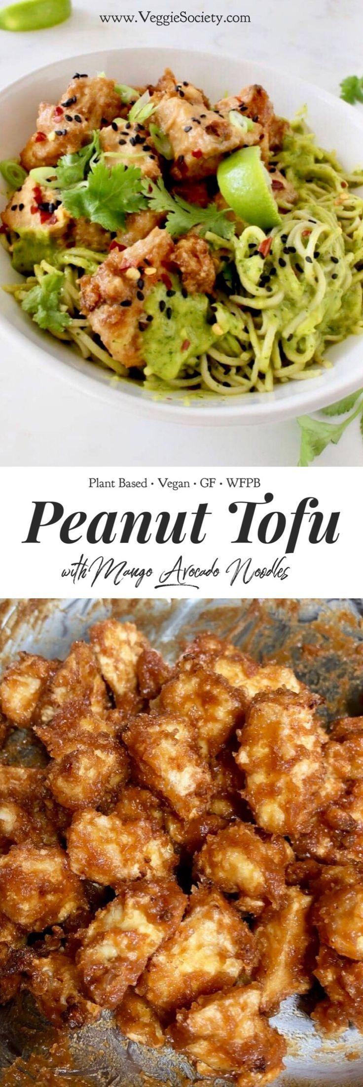 Air fried peanut butter tofu with mango avocado so…